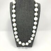 Vintage White Lucite Round And Disk Bead Necklace Gold Tone Separators