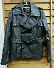 """PETER WERTH Dark Brown Real Leather Belted Jacket Size:12 - 38"""" Chest"""