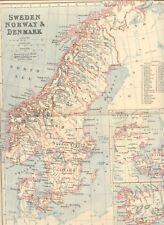 LANDKARTE SCHWEDEN, NORWEGEN, DÄNEMARK, ISLAND Kupferstichlandkarte 1887