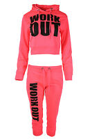 New Womens Ladies Cropped Belly Hoody Top Joggers Bottoms Tracksuit 2 Piece Set