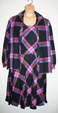VTG USA Womens GIVENCHY Purple Plaid 3 PC. Top Lagenlook Long Skirt Dress 12