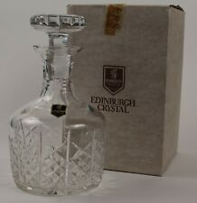 "Edinburgh Crystal, Highland, Round Wine Decanter, Boxed, Signed, Sticker, 8"" ½"