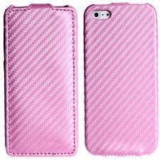 Flip Case Carbon Look Schutzhülle Tasche zum Aufklappen iPhone SE/5S/5 Pink