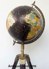 "ANTIQUE VINTAGE STYLE WORLD MAP GLOBE 12"" BLACK SEA ON A TRIPOD STAND NAUTICAL"
