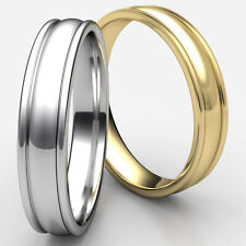 High Polished Carved Design 4mm Man Men's Women's Wedding Band White Gold Ring