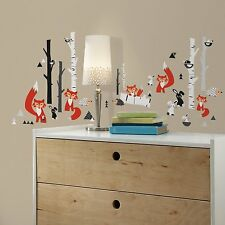 FOX FOREST Wall Decals Trees Black white Animals Room Decor Stickers Red White