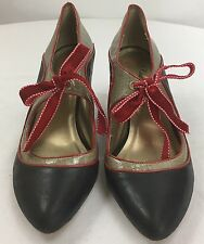 Poetic Licence Tease Leather Vintage Style Pointed Toe Mary Jane Heels Size 9.5