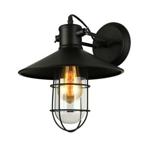 Vintage Nautical Industrial Wall Light Saucer Shade Sconce Barn Lamp Fixture