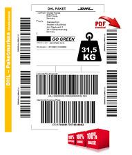 31,5kg DHL ORIGINAL Paket Paketlabel Paketmarke Paketschein POST DEUTSCHLAND