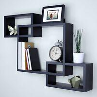 3PCS Floating Display Shelves Ledge Bookshelf Wall Mount Storage Black/White US