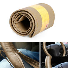 New Car Truck PU Leather Steering Wheel Cover With Needles and Thread Beige DIY