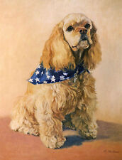 Cocker Spaniel Dog Seated Color Art Print from Oil Painting by Artist P.Tarlow