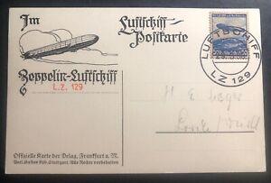 1936 Germany Hindenberg Zeppelin LZ129 RPPC Postcard cover Domestic Flight