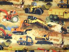 Baumwolle Stoff Kinderstoff Baufahrzeuge Bagger Traktor Meterware 22102