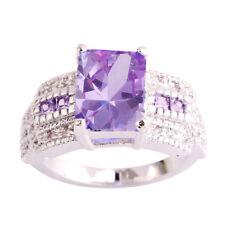 Elegant Emerald Cut Tourmaline & White Topaz Gemstone Silver Ring Size 9