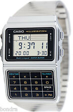 Casio DBC611-1 Databank Calculator Watch Stainless Steel Band 5 Alarms New