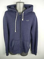MENS HOLLISTER NAVY BLUE ZIP UP LONG SLEEVED CASUAL HOODED JUMPER HOODIE S SMALL