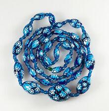 Art Deco Venetian Murano Moretti Matched Cane Millefiori Bead Long Necklace