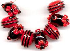 Black Red Daisy  Swirls Lampwork Handmade Glass Beads Loose Crat Rondelle 8pcs