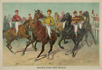 "1893 Horse Race, antique, Jockeys, Louis Maurer, 20""x14"", ART PRINT"