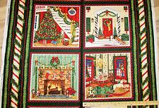 "Holiday Home Nutcracker Gingerbread House Mantel Christmas Fabric Panels  29"""