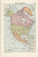C1900 Mappa ~ America Del Nord ~ Dominion Del Canada Stati Uniti Messico