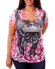 Women's Pink Blouse Top with Crown and Wings Print and Rhinestones - Size 1X