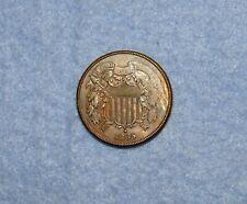 MINT ERROR Original UNC 1865 Two-Cent Piece ~ Filled Die Error ~ Curved 5
