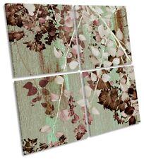 Hojas de Árbol Floral Rosado MULTI LONA pared arte cuadrado de la obra de arte