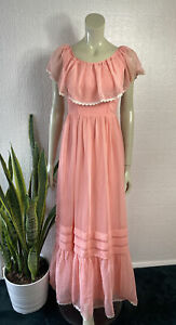 Vintage 1970's Maxi Dress Prairie Peach Sheer Peter Ellis Size 6 - 8