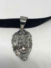 Vintage Silver Stainless Steel Lion Amulet Pendant Necklace