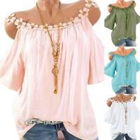 Summer Womens Cold Shoulder Tee T Shirt Loose Casual Tunic Tops Blouse