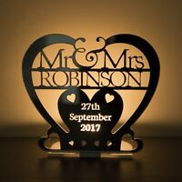 Personalised Tea Light MR & MRS Heart Candle Holder Wedding or Anniversary Gift