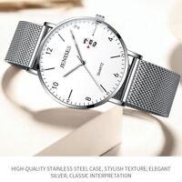 Classic Men's Quartz Luminous Analog Date Wrist Watch Stainless Steel Mesh Band