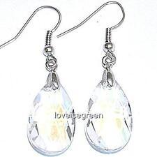 Faceted Teardrops Crystal Glass Beads Drop Dangle Earrings Earwires Ear Hooks