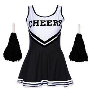 BLACK CHEERLEADER HALLOWEEN FANCY DRESS OUTFIT SCHOOL UNIFORM COSTUME POM POMS
