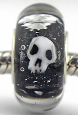 Skulls Halloween goth sterling silver european charm bead lampwork murano glass