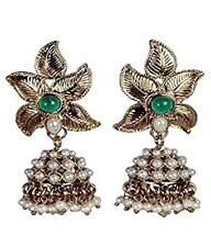 Fashion jewelry Brass Light Green Stone Ear Rings/ Jhumkis