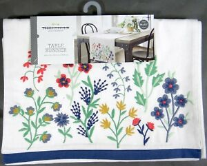 Embroidered Table Runner New in Package Cream Threshold Flowers 72x14