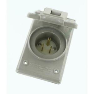 Leviton Power Inlet Outlet Straight Blade Grounding Gray NEMA-5 15-Amp 125-Volt