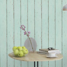 Industrial Chic Mint Blue Textured Timber Panelling Wallpaper - 10M ROLL - NEW!