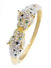 Charm Golden Toned Simple Crystal Rhinestone Twin Lion Cuff Bracelet Bangle Gift
