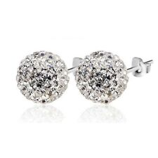 Sparkle Round Crystal Rhinestone Ball Ear Stud Earrings Wedding 6mm 8mm 7 Colors