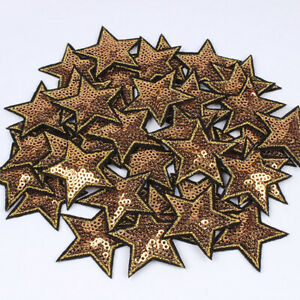 10 Pentagram Star Embroidery Patch Sequins Sewing Iron On Badge Clothes Applique