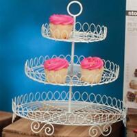 3 Tier Round White Metal Wire Cupcake Stand Tower / Appetizer & Dessert Serving