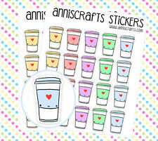 40 Coffee Cup Stickers Kawaii Sheets Rainbow Pastel Color Cute Tea Planner AC9