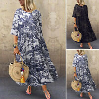 ZANZEA UK Womens 3/4 Sleeve Vintage Printed Casual Loose Kaftan Baggy Maxi Dress