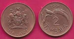 MALAWI 2 TAMBALA 1995 UNC PARADISE WHYDAH BIRD DIVIDES DATE AND VALUE,ARMS WITH