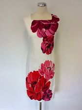 PHASE EIGHT WHITE WITH RED & PINK FLORAL PRINT  PENCIL DRESS SIZE 8