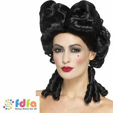BLACK GOTHIC BAROQUE WIG RINGLETS HALLOWEEN Ladies Fancy Dress Costume